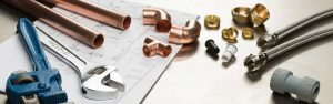 Copper pipes and plumbing tools